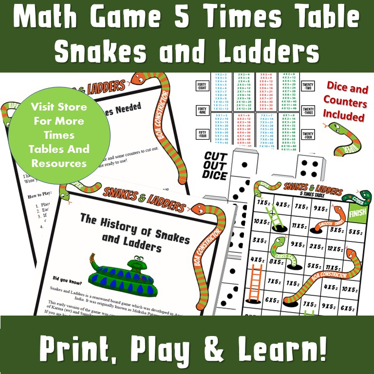 5 times tables game snakes and ladders