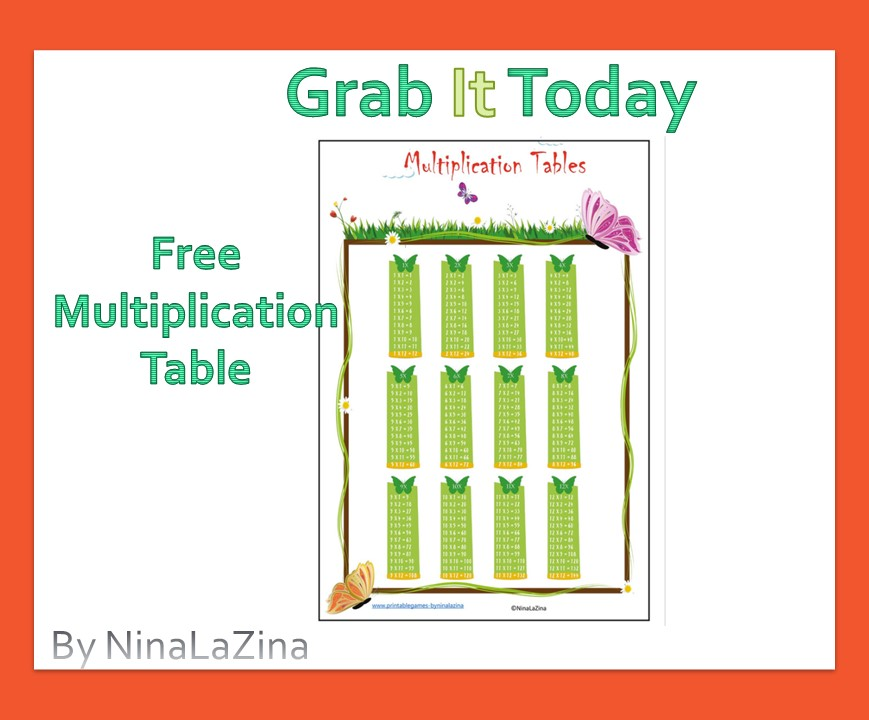 Free Multiplication Table Poster Butterfly Green