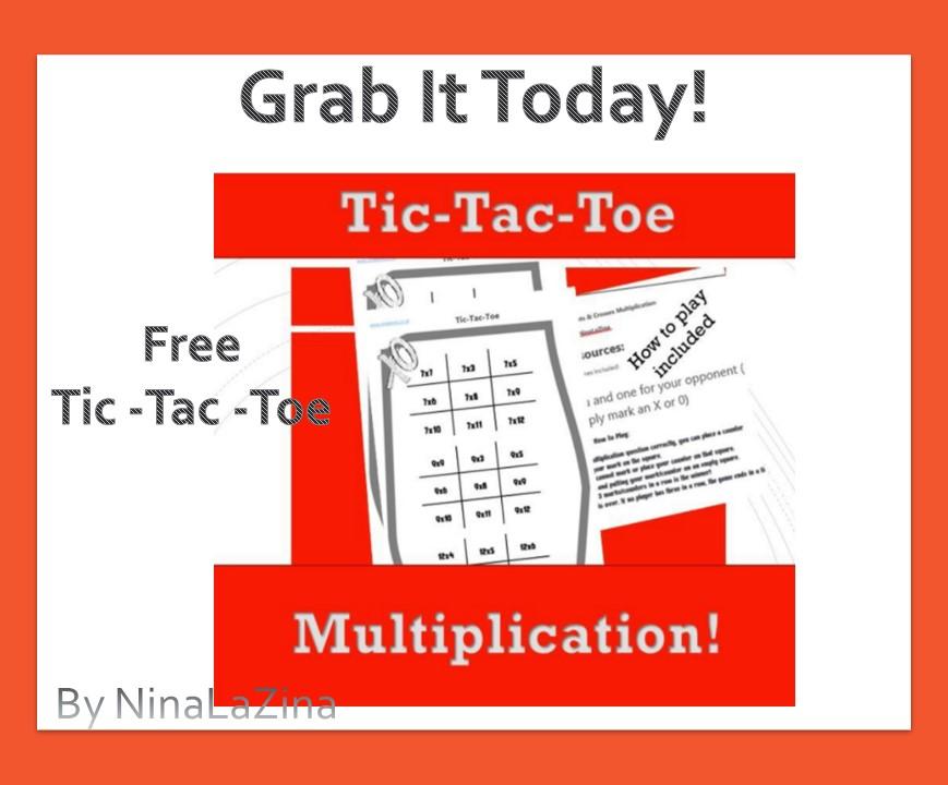 Free Tic Tac Toe Multiplication Poster For Kids NinaLaZina