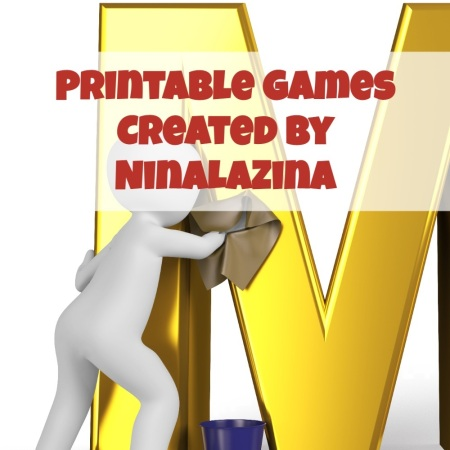 Printable Multiplication Games By NinaLaZina. Cartoon cleaning letter M.
