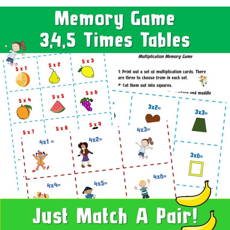 Memory board card game for kids to learn the multiplication tables