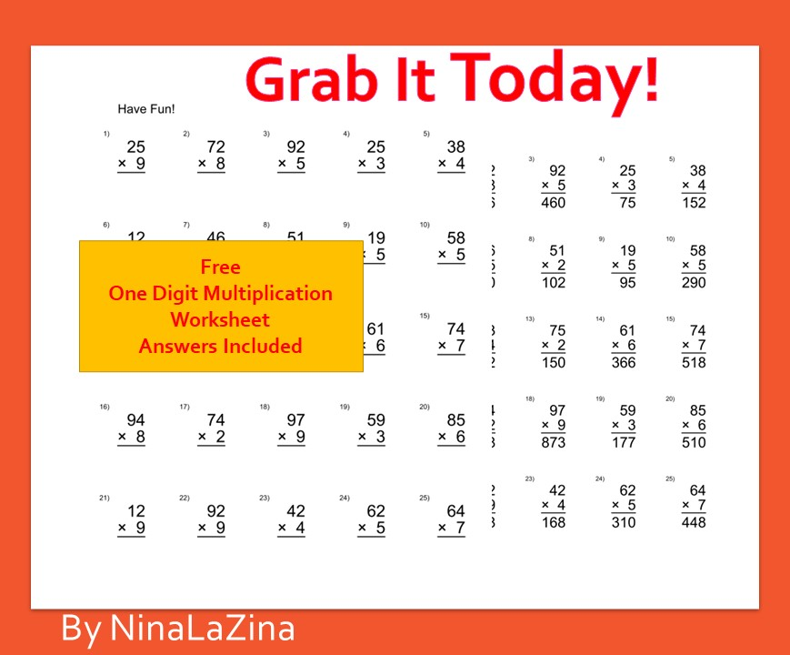 Free One digit Multiplication Table Worksheet