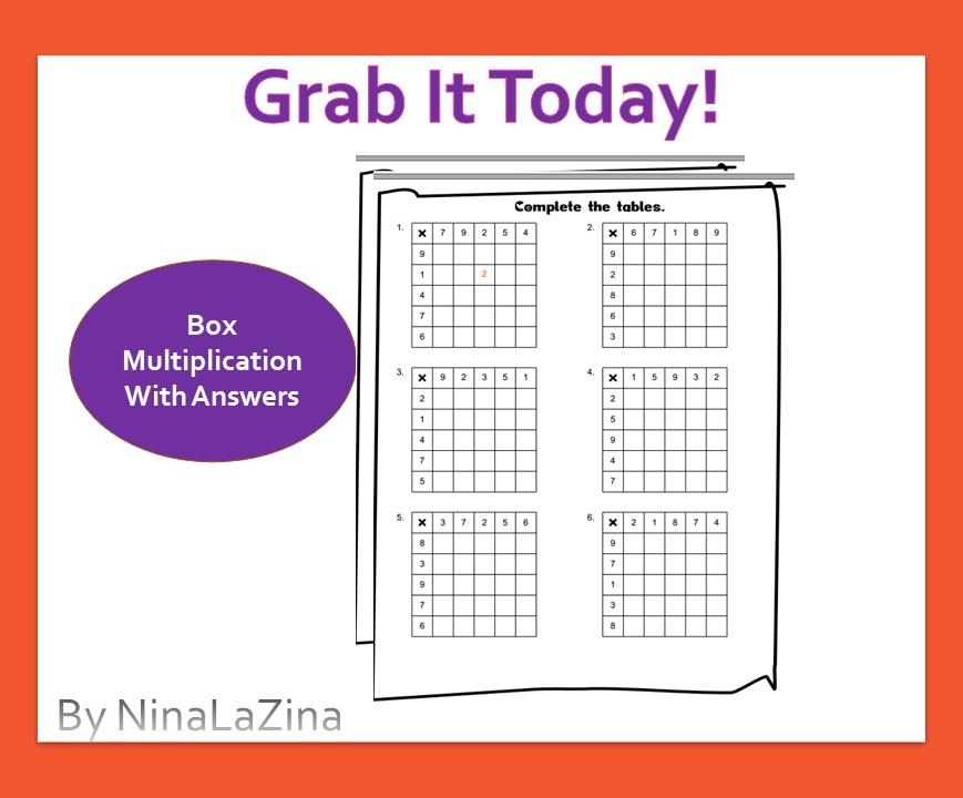 Free Box Multiplication Table Worksheet
