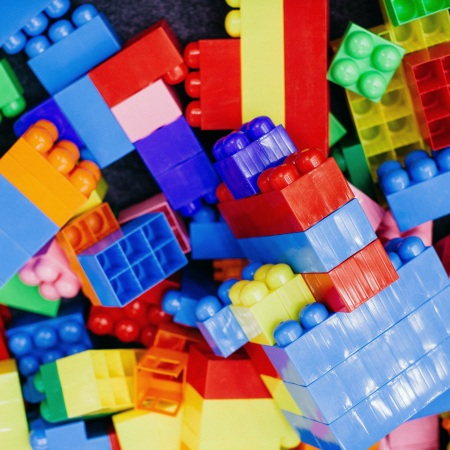 Cubes and bricks brightly coloured