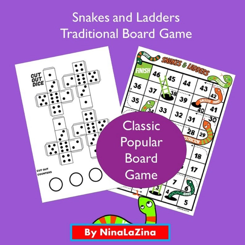 Snakes and Ladders Board Game, Traditional Board Game For kids, Exciting To Play, Teaches Turn Taking, Popular Board Game by NinaLaZina