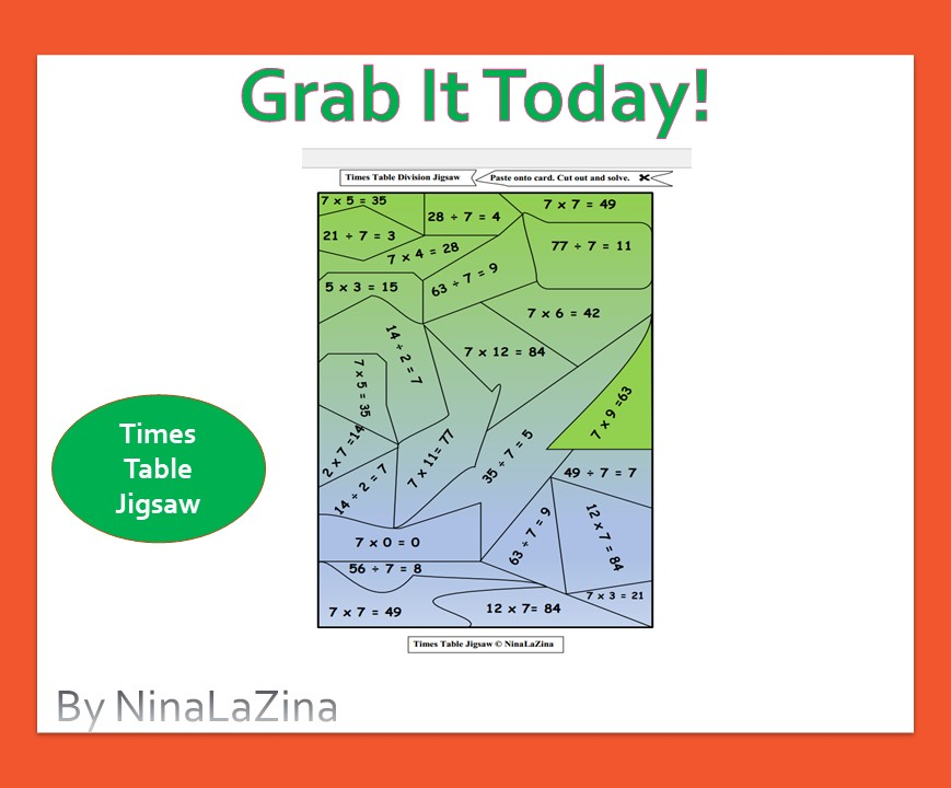 Free multiplication tables  jigsaw for kids to cut and and solve.