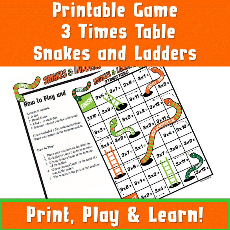 Printable board game snakes and ladders 3 times tables game for kids to enjoy!