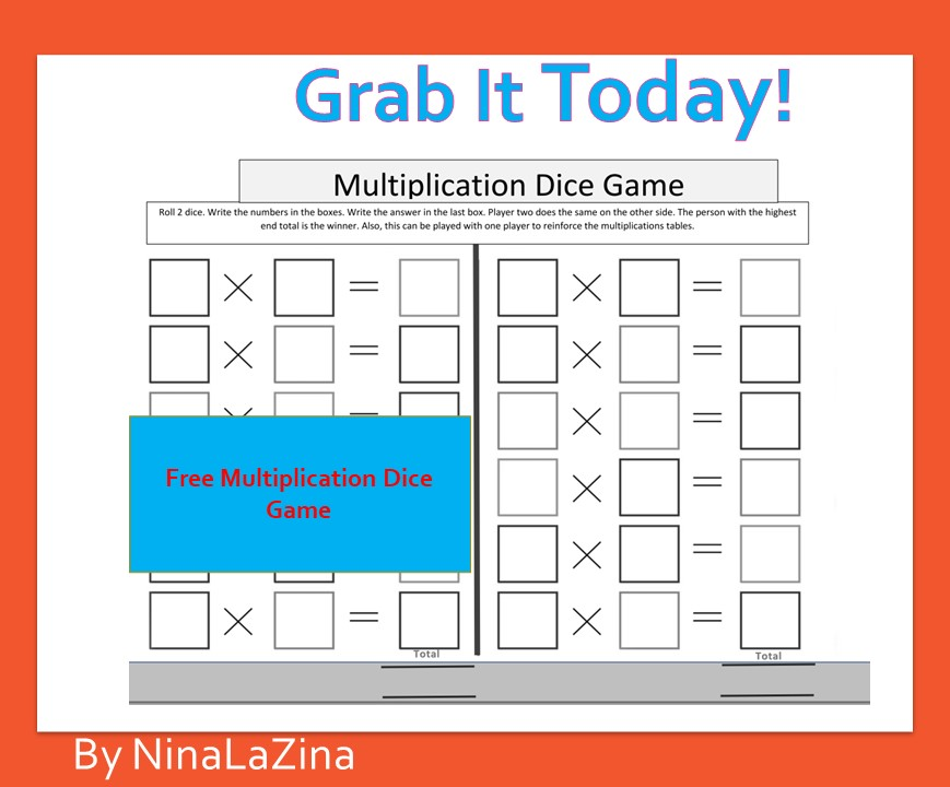 Free Board Game Multiplication Dice Game.