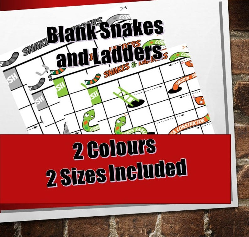 Blank Snakes and Ladders template pdf/ Colour, Black and White Printable a3, a4/ Maths Board Game/Maths Games for Kids / NinaLaZina