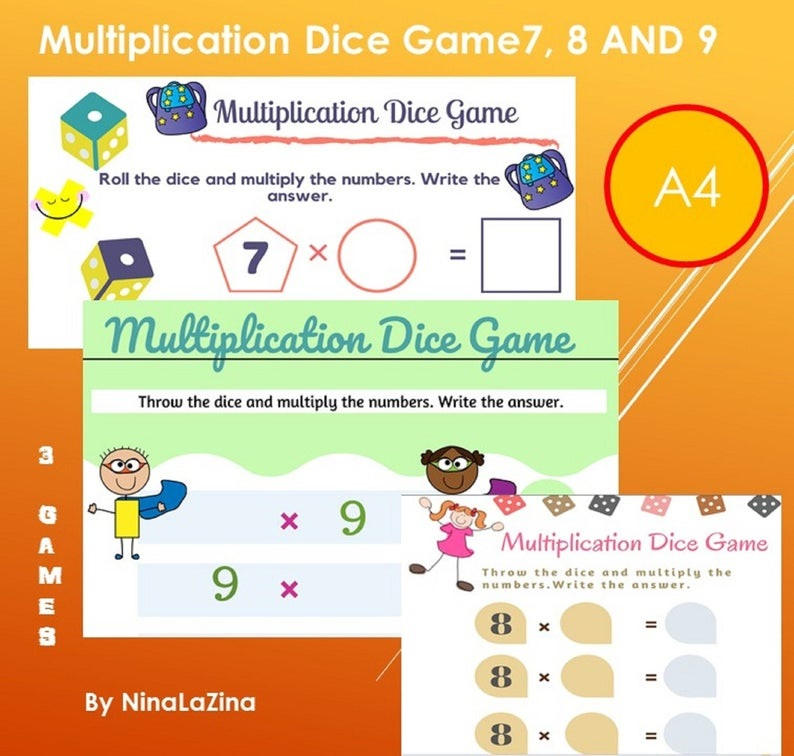 Dice play board game multiplication tables for kids to enjoy learning the times tables.