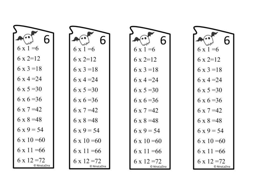 Free Book mark for 6 times table multiplication tables.