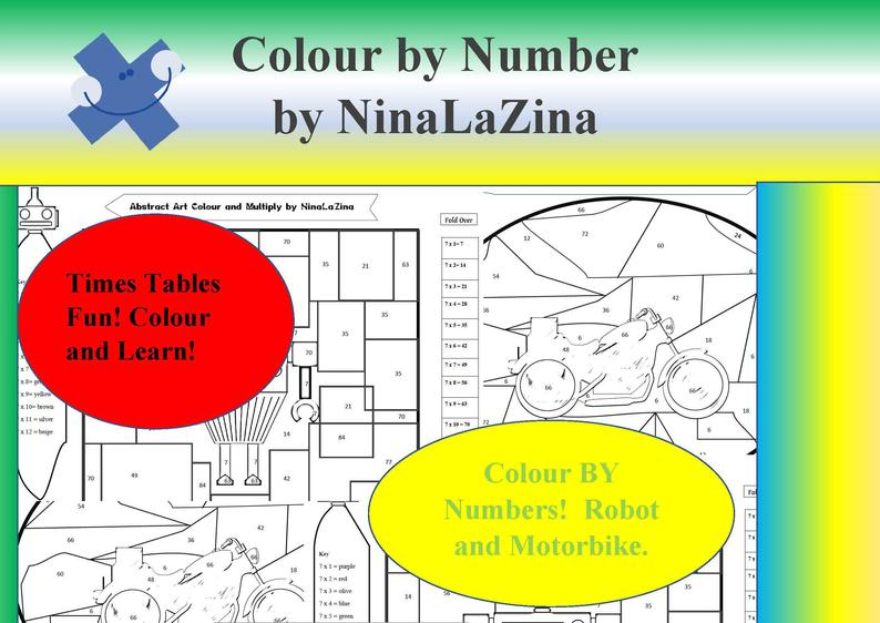 times tables colour by numbers art